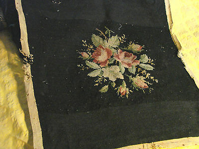 Vintage Needlepoint Antique seat cover Black Floral