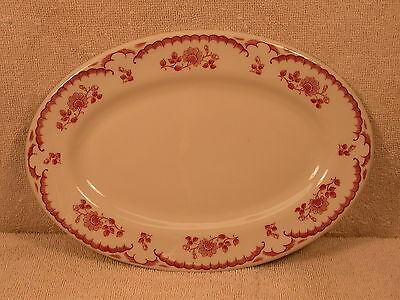 Shenango - White Oval Platter With Red Chardon Rose Pattern Edge Trim