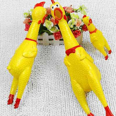 Fun Squeeze Shrilling Screaming Rubber Chicken Pet Dog Bite Toy Squeaker Chew