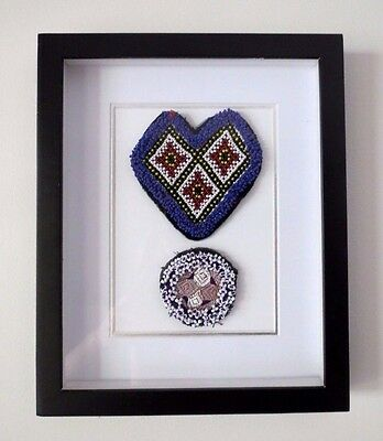 Tribal Antique Indian Patch Wall Hanging Art Picture Framed Banjara Folk Art
