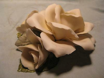 Capodimonte Golden Crown White Porcelain Rose Made in Italy