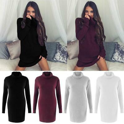 Womens Warm High Neck Knitted Sweater Jumper Tops Outwear Tunic Mini Loose Dress