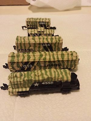 Rare Lot Galoob Micro Machines Complete Military Train In Camouflage
