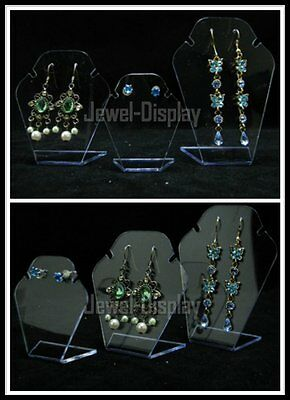 Mini 2 Sets of 6 Clear Acrylic Easel Jewelry Necklace Display Stand Earring
