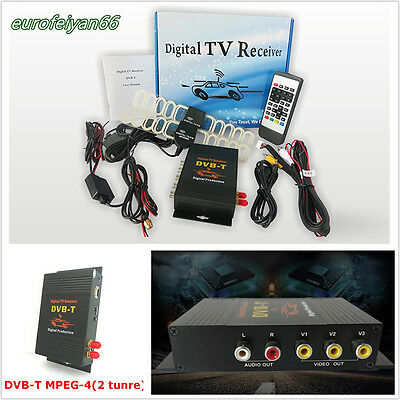 Car SUV Digital HD DVB-T MPEG4 TV Receiver Box Tuner Dual Antenna Multi-Language