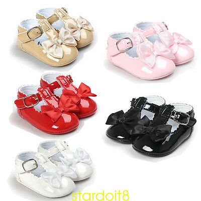 Newborn Baby Infant Girls Soft Sole Toddler PU Leather Crib Shoes Footwear UK