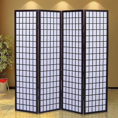 Room Divider Screen Shoji Privacy Movable Panel Japanese Oriental Style Black