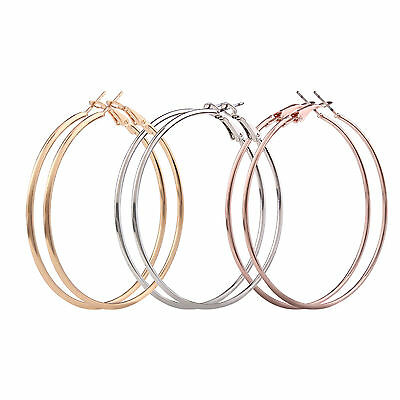 Ladies Girls Sterling Silver Gold Plated Smooth Big Large Hoop Earrings 4CM -9CM