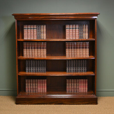 Superb Quality Large Victorian Mahogany Antique Open Bookcase