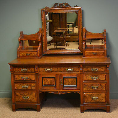 Large Figured Walnut Victorian Antique Dressing Table