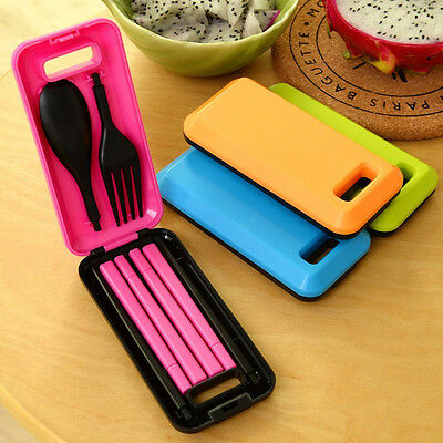 Portable Folding Camping Cutlery Spoon Knife Fork Travel Picnic Set with Case