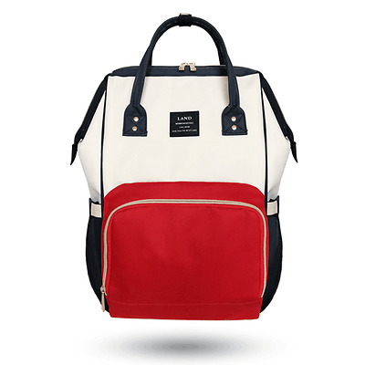 LAND Large Baby Diaper Backpack Mommy Changing Bag Mummy Nappy- WhiteRed