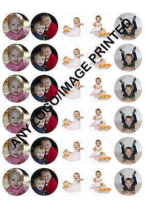 30 x 40mm PERSONALISED PHOTO EDIBLE RICE PAPER CUPCAKE FAIRY CAKE TOPPERS
