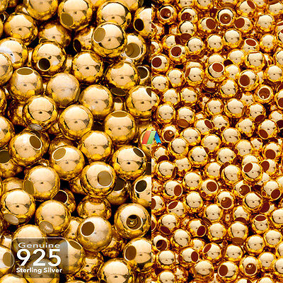 925 Sterling Silver 14K Gold Plated SEAMLESS ROUND SPACER BEADS 1.8 - 4mm