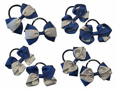 Navy blue and grey school hair bow, hair accessories on thick bobbles or clips