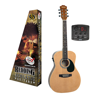 REDDING ¾ size Electric Acoustic Guitar, Spruce Top, free lessons, RED34E, Natur