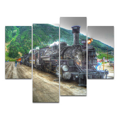 "No Frame Modern Oil Painting on Canvas Wall Art ""Abstract Tone"" —Steam Train"