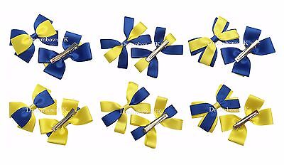 Royal blue and yellow hair bows, clips or thin bobbles, school hair accessories