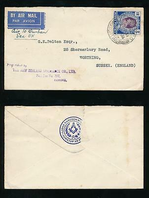 BURMA 1941 AIRMAIL to GB...NEW ZEALAND INS.CO MASONIC LODGE ENV AIR to DURBAN