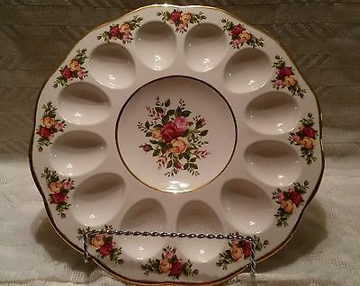 Gorgeous 1962 Royal Albert Bone China Old Country Roses Deviled Egg Plate