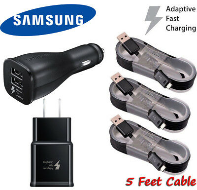 OEM Samsung Fast Charging Car&Wall Charger+Cable For Galaxy S6 S7 edge+ Note 5 4