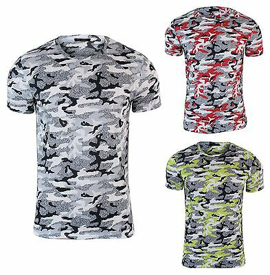 Mens Camouflage Camo Slim Fit Military Army Combat Tactical T Shirt