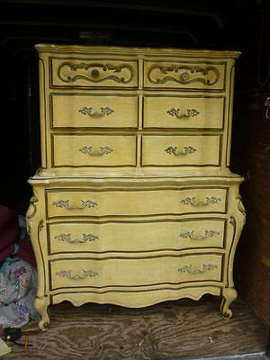 Vintage Ornate Wood French Provincial High Boy Tall Dresser local Pick Up 17G022