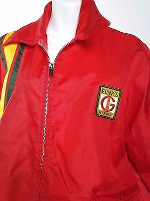 Vintage Red Swingster FUNK'S HYBRID JACKET Racing Stripe Seed Corn Farming USA L
