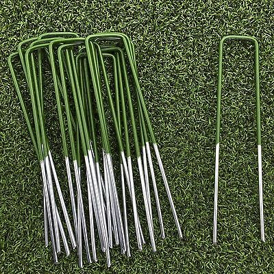 50 x Half Green Artificial Grass Turf Galvanised U Pins Metal Peg Staples