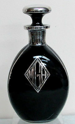 Art Deco Black Glass Pinch Bottle With Silver Overlay