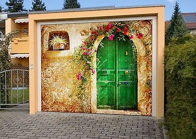 3D House, flowers Garage Door Murals Wall Print Decal Wall Deco AJ WALLPAPER AU