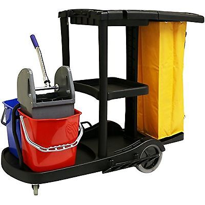 Hartleys Janitorial Cleaning Trolley with Mop Buckets Sturdy Day Centre Elderly