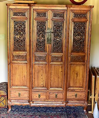 1850-1899 Hand Carved 4-Door Antique Chinese Cypress Cabinet w/ 8 Drawers