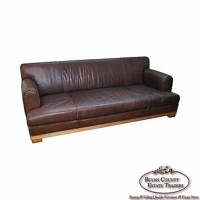 Baker Furniture Brown Leather Large Box Sofa
