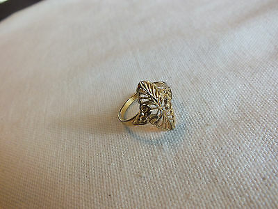 "Beautiful Cocktail Ring Gold Tone Filigree Size 8 by 3/4"" Face Signed CO 8 CUTE"