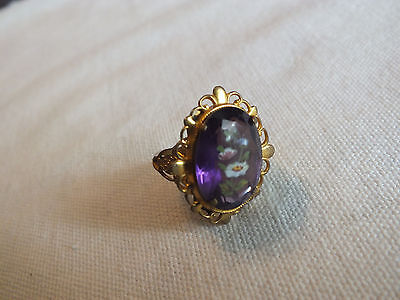 "Beautiful Cocktail Ring Brass Gold Tone Purple Floral Cab Size 6 1/2 x 1"" Face"