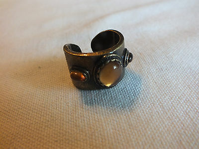 "Beautiful Cocktail Ring Brass Tone Amber Cabochons Size 8 x 5/8"" W Open Back"