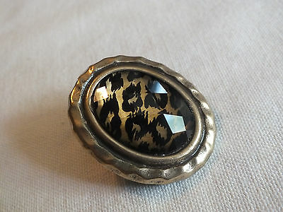 "Beautiful Stretch Cocktail Ring Gold Tone Black Gold Faceted Cap 2 x 1.5"" Face"