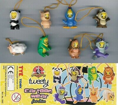 RARO Set 8 Figure Collezione TITTI ANIMAL WEAR SERIE 1 TWEETY Tomy MINI WINNIES