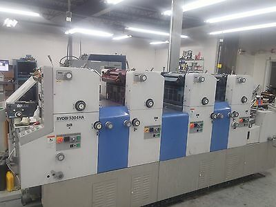 RYOBI Press 3304HA 4-Color Press  with Console, Chiller and Plate Punch