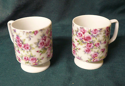 Rose Chintz Porcelain  Floral Pedestal Cups- Lot Of Two- Vg Condition