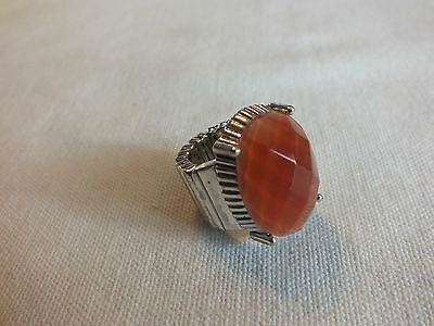 """Beautiful Stretch Cocktail Ring Silver Tone Coral Faceted Cabochon 1"""" Face"""