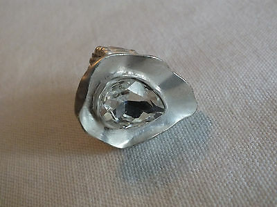 "Beautiful Stretch Cocktail Ring Matte Silver Tone Clear Rhinestone 1 1/2"" Face"
