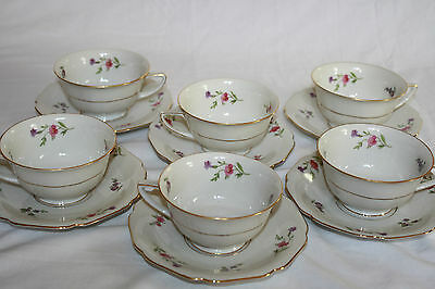 "H & Co. Selb Bavaria Germany Heinrich U.s. Zone ""victoria""(6) Cup & Saucer Sets"