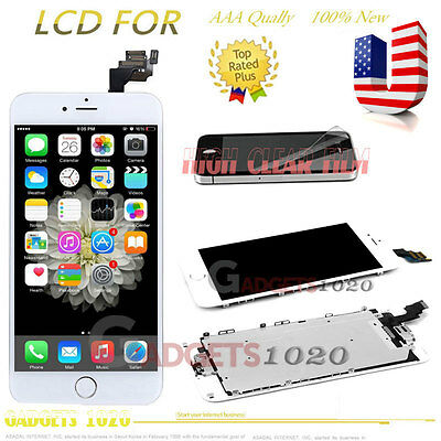 For iPhone 6 Plus 5.5'' White LCD Touch Screen Digitizer+ Home Button &Camera US