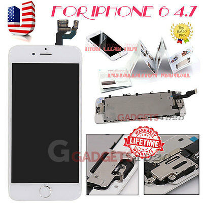 """White For iPhone 6 4.7"""" LCD Display Touch Screen Digitizer Home Button+Camera US"""