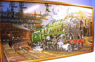 "Collectable Framed Wool Tapestry Steam Railway Scene 15"" x 30"" VGC (WH_0653)"