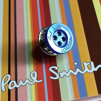 Mens Paul Smith Pearly Blue Limited Edition Shirt Buttons Lapel Pin Tie Clip
