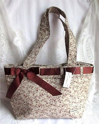 Longaberger VINTAGE FLORAL Ribbon Tote Bag Snap Closure New Tag