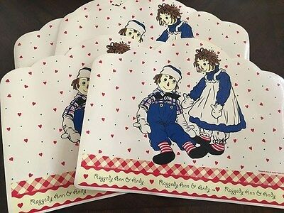 Raggedy Ann And Andy Vinyl Placemats (4) 1998 Mint Condition